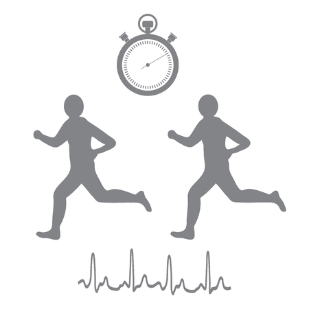 interval: Stylized icon of the two runners with a stopwatch and heart rhythm on a white background