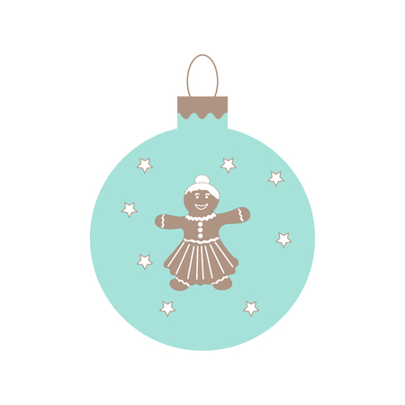 Cute picture with Christmas ball with stars and cute gingerbread men on white background.
