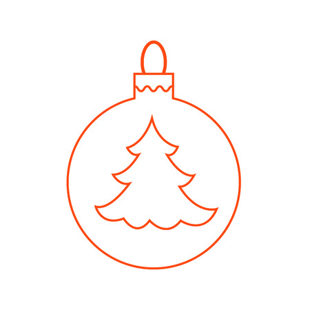 Vector icon Christmas ball with silhouette of Christmas tree  in trendy linear style.