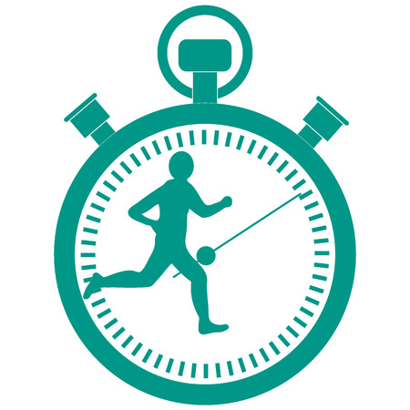 Stylized icon of the runner with a stopwatch on a white background