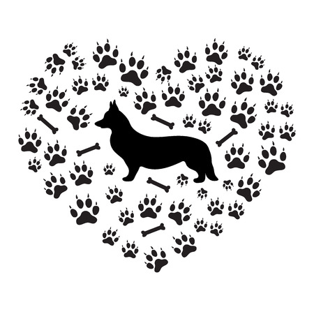 Nice picture of Welsh Corgi Pembroke silhouette on a background of dog tracks and bones in the form of heart on a white background. Illustration