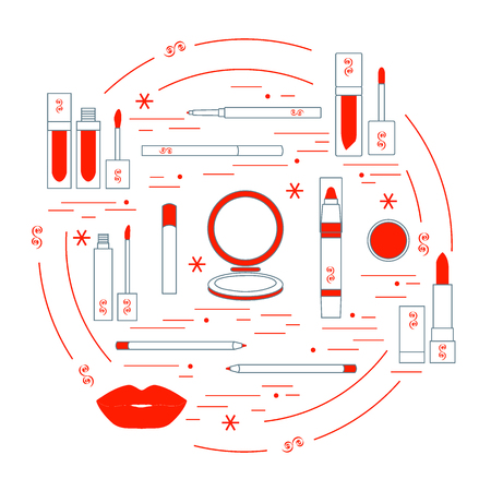 Vector illustration of different lip make-up tools arranged in a circle. Including icons of lipsticks, mirror, lip liner, lip gloss, lip. Glamour fashion vogue style.