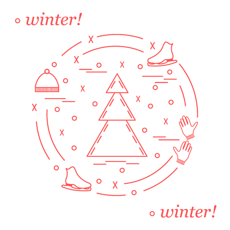 coniferous: Vector illustration for sports figure skating arranged in a circle. Including icons of skates, gloves, hat, spruce. Winter elements made in line style. Illustration