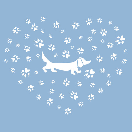 symbols commercial: Nice picture of dachshund silhouette on a background of dog tracks in the form of heart on a colored background. Illustration