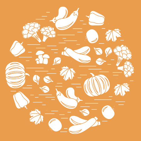 Set of autumn seasonal vegetables in circle. Tomato, pepper, zucchini and other fall vegetables for announcement, advertisement, flyer or banner. Vector illustration.