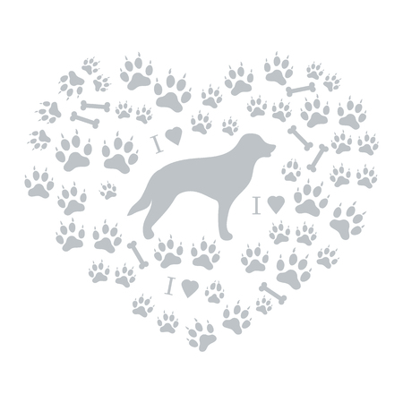 dog walking: Nice picture of retriever silhouette on a background of dog tracks and bones in the form of heart on a white background. Illustration