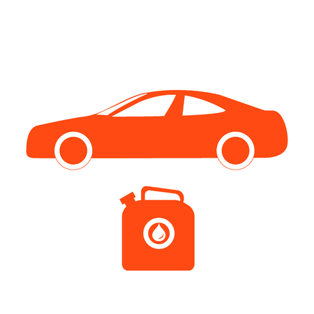 canister: Stylized icon of the car and canister of gasoline on a white background