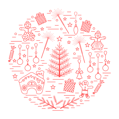 Vector illustration of different new year and christmas symbols arranged in a circle. Winter elements made in line style. Illustration