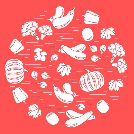 Set of autumn seasonal vegetables in circle. Tomato, pepper, zucchini and other fall vegetables for announcement, advertisement, or banner.