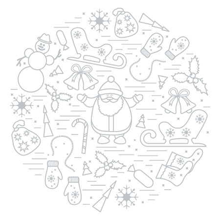 thin ice: illustration of different new year and christmas symbols arranged in a circle. Winter elements made in line style. Illustration
