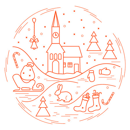 illustration of different new year and Christmas symbols arranged in a circle. Winter elements made in line style.