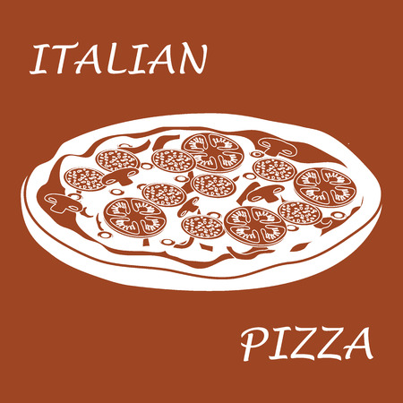 frankfurter: Nice illustration of tasty, appetizing pizza with inscriptions on a colored background.