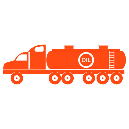 Stylized icon of the oil tankerfuel tanker on a white background