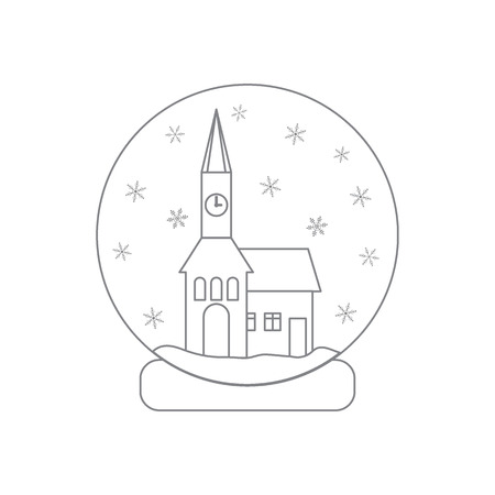 town hall: illustration of town hall with clock and the house inside glass ball with snow. Design element for postcard, invitation, banner or flyer made in modern line style vector.