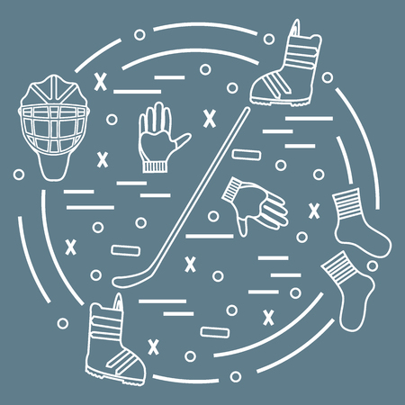 bandy: Vector illustration of various subjects for hockey and snowboarding arranged in a circle. Including icons of helmet, gloves, stick, puck, socks, snowboard boots. Winter elements made in line style.