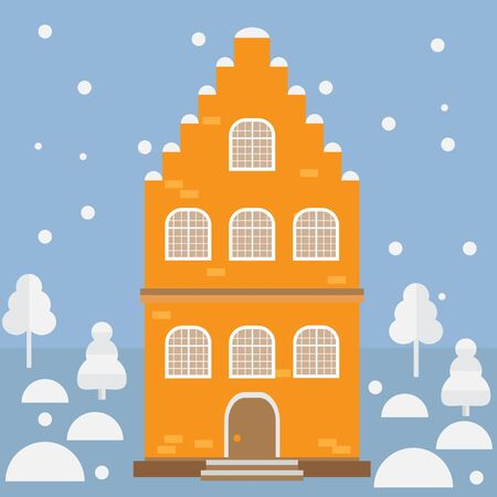 Vector illustration house in the snow. Design element for postcard, banner, flyer or print. Christmas card.