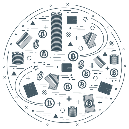 Vector illustration of different money, investment and financial icons arranged in a circle. Including icons of purse, money bill, credit card, bitcoin, pile of bitcoins on white background. Illustration