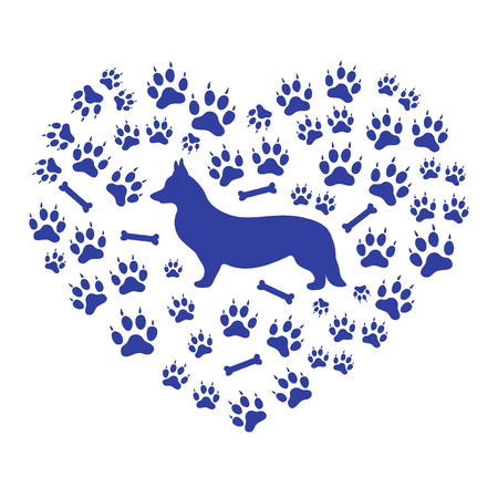 pembroke welsh corgi: Nice picture of Welsh Corgi Pembroke silhouette on a background of dog tracks and bones in the form of heart on a white background. Illustration