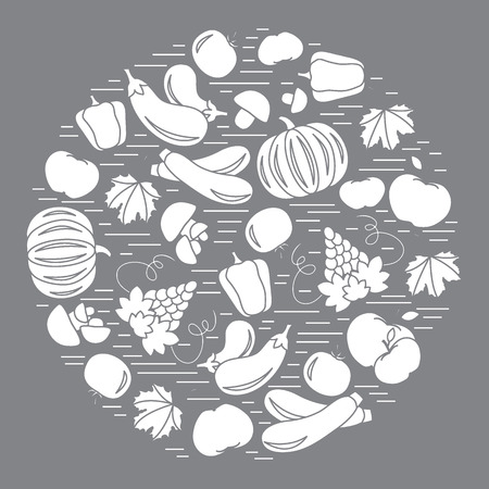 Set of autumn seasonal fruits and vegetables in circle. Tomato, pepper, grapes, zucchini and other fall fruits and vegetables for announcement, advertisement, flyer or banner. Vector illustration.