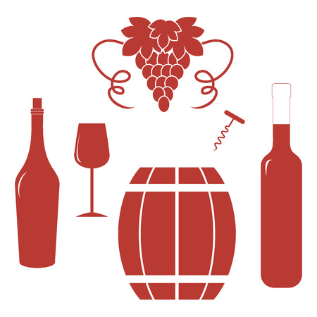 Stylized icon of a colored bottles, glass, corkscrew, barrel of wine and bunch of grapes on a white background