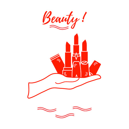 vogue style: Vector illustration with hand holding out a various tubes of  lipstick. Glamour fashion vogue style. Illustration