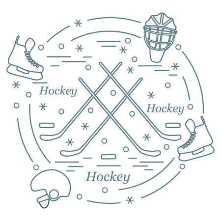 hurl: Vector illustration of various subjects for hockey arranged in a circle. Including icons of helmet, skates, goalkeeper mask, stick, puck. Winter elements made in line style.