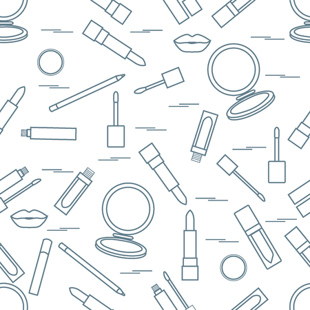vogue style: Seamless pattern of different lip make-up tools. Vector illustration of lipsticks, mirror, lip liner, lip gloss and other. Glamour fashion vogue style.