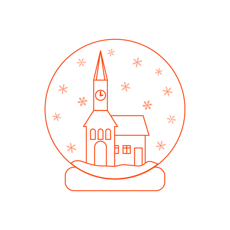 town hall: Vector illustration of town hall with clock and the house inside glass ball with snow. Design element for postcard, invitation, banner or flyer made in modern line style vector.
