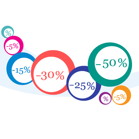 Vector  illustration of various discounts for markets and shops. Label for shop. Seasonal sales during the year. Illustration