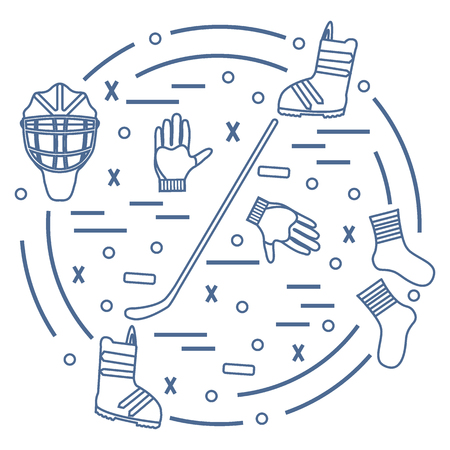 hurl: Vector illustration of various subjects for hockey and snowboarding arranged in a circle. Including icons of helmet, gloves, stick, puck, socks, snowboard boots. Winter elements made in line style.