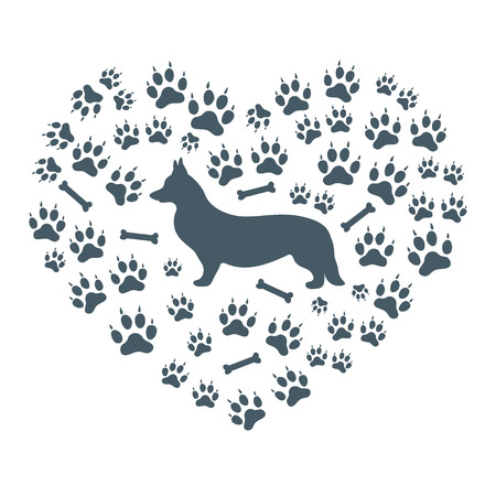 dog walking: Nice picture of Welsh Corgi Pembroke silhouette on a background of dog tracks and bones in the form of heart on a white background. Illustration