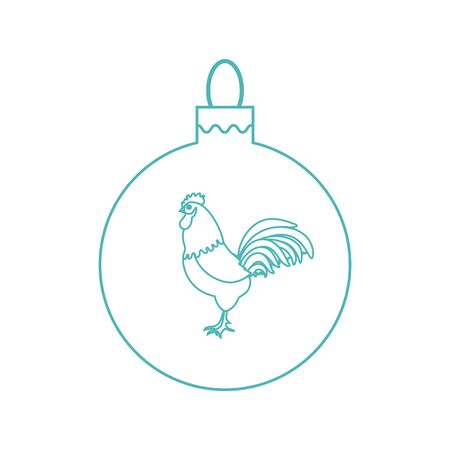 snowfalls: Cute picture with colour Christmas ball with rooster and snowfalls made in line style on white background.