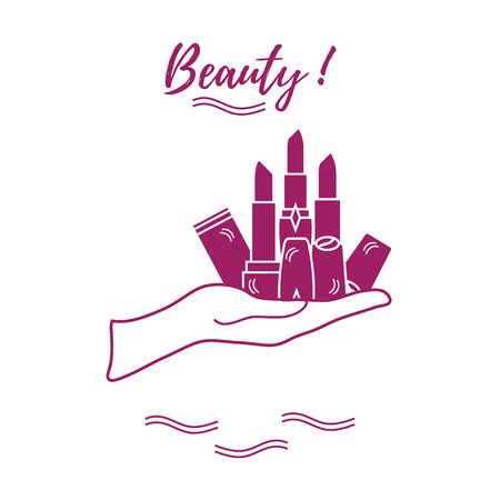 Vector illustration with hand holding out a various tubes of  lipstick. Glamour fashion vogue style. Illustration