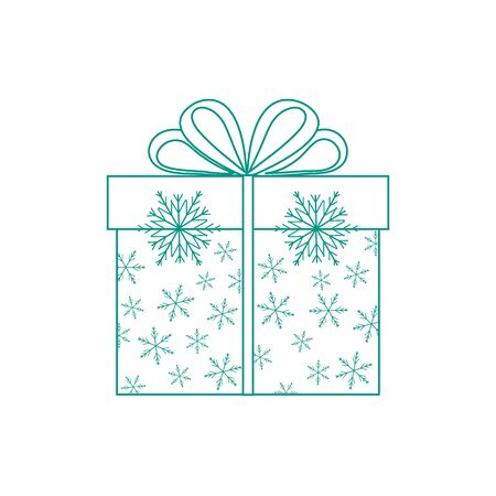postcard box: Vector illustration of gift box decorated snowflakes on white background made in line style.Design element for postcard, invitation, banner, flyer.