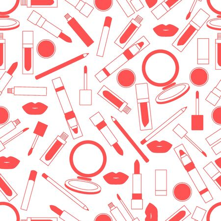 Seamless pattern of different lip make-up tools. Vector illustration of lipsticks, mirror, lip liner, lip gloss, lip. Glamour fashion vogue style. Illustration