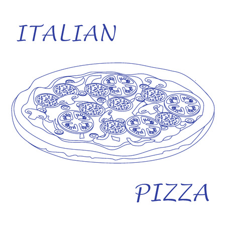 appetizing: Nice illustration of tasty, appetizing pizza with inscriptions on a white background.