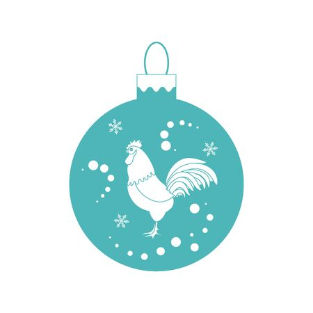 snowfalls: Cute picture with colour Christmas ball with rooster and snowfalls on white background.