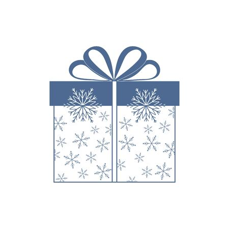 postcard box: Vector illustration of gift box decorated snowflakes on white background.Design element for postcard, invitation, banner, flyer.