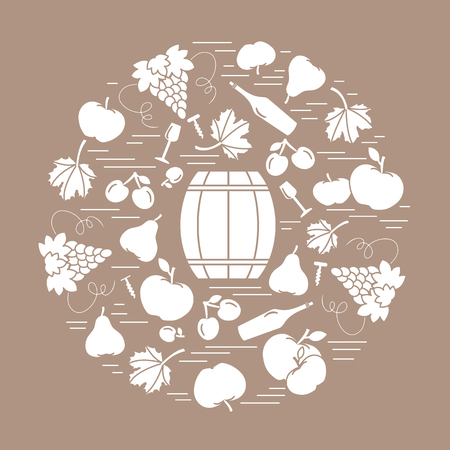 Autumn symbols in circle. Barrel, corkscrew, wine glass, pear, plum, grapes and other fall symbol  for announcement, advertisement, flyer or banner. Vector illustration.