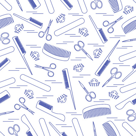 nail file: Cute pattern of scissors for manicure and pedicure, combs, nail file, barrettes. Design for banner, flyer, poster or print.