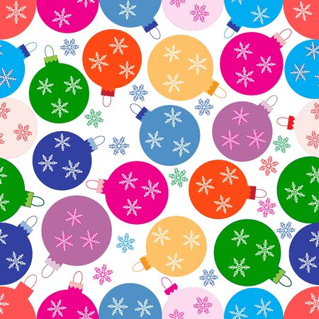 Winter seamless pattern with variety colored Christmas balls with snowflakes on a white background.