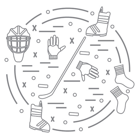 puck: Vector illustration of various subjects for hockey and snowboarding arranged in a circle. Including icons of helmet, gloves, stick, puck, socks, snowboard boots. Winter elements made in line style.