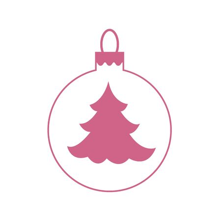 coniferous: Vector icon Christmas ball with silhouette of Christmas tree on white background.
