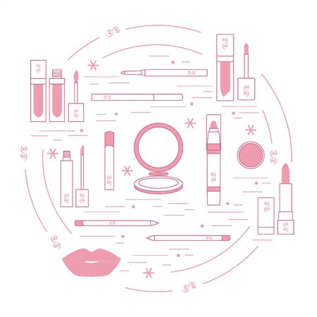 vogue style: Vector illustration of different lip make-up tools arranged in a circle. Including icons of lipsticks, mirror, lip liner, lip gloss, lip. Glamour fashion vogue style.