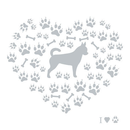 dog walking: Nice picture of chihuahua silhouette on a background of dog track in the form of heart on a white background.