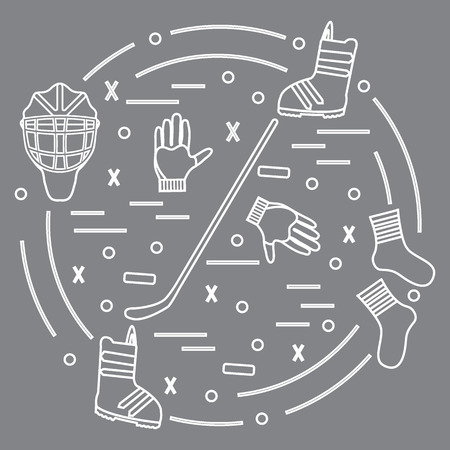 Vector illustration of various subjects for hockey and snowboarding arranged in a circle. Including icons of helmet, gloves, stick, puck, socks, snowboard boots. Winter elements made in line style.