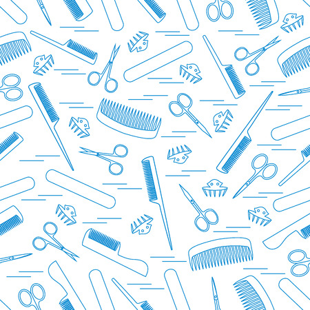 Cute pattern of scissors for manicure and pedicure, combs, nail file, barrettes. Design for banner, flyer, poster or print.