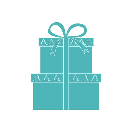 Vector illustration of gift boxes decorated Christmas trees. Design element for postcard, invitation, banner, flyer or other polygraphy and design. Illustration