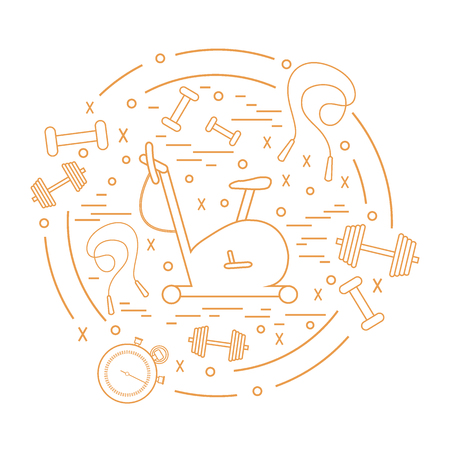 Vector illustration of different kinds of sports equipment arranged in a circle. Including icons of skipping rope, stopwatch, exercise bike, dumbbells. Isolated elements on white background. Illustration