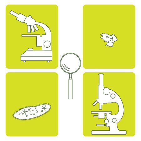 protozoa: Stylized icons of microscopes, magnifier, amoeba, ciliate-slipper. Magnifying device sign. Laboratory equipment symbol.